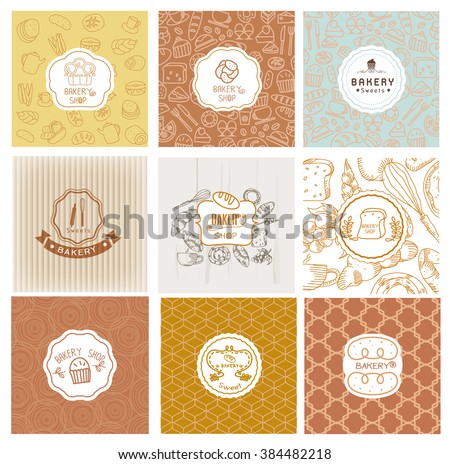 Set of vector bakery logo. Bread and pastries labels, badges and design elements