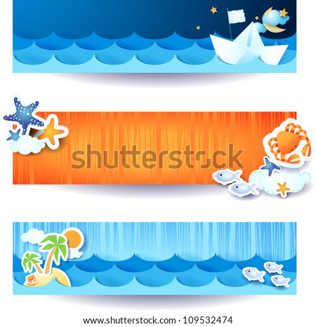 Set of vector banners, holidays on the beach theme - stock vector
