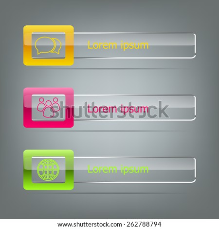 Set of vector banners on grey background, stock vector - stock vector