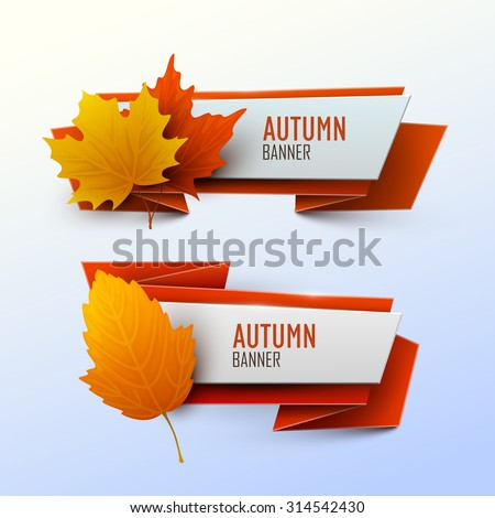 Set of vector banners with autumn leaves. - stock vector