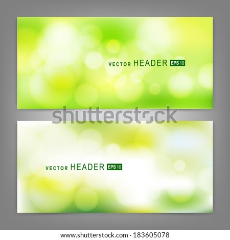 Set of vector banners with beautiful spring forest bokeh.  Spring or summer abstract nature background  - stock vector