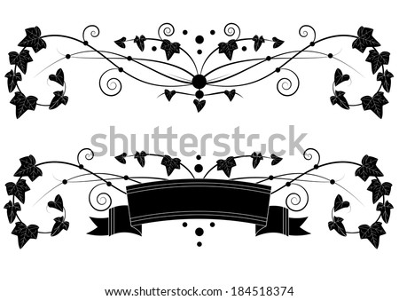 set of vector banners with branches of ivy - stock vector