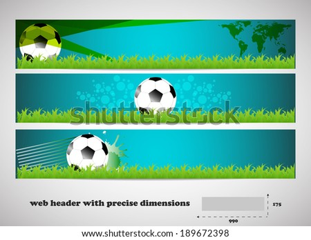 Set of vector banners with grass and soccer balls/design for your web presentation with place for your content
