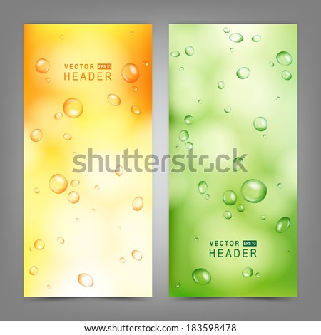 Set of vector banners with water drops on glass.  Vector Illustration - stock vector