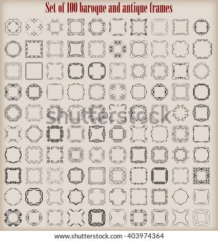 Set of 100 vector baroque and antique frames. - stock vector