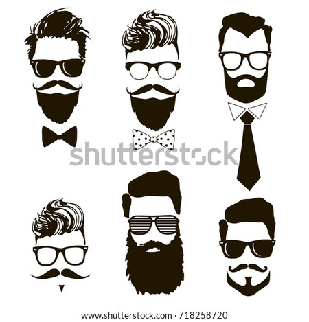 Set of vector bearded men faces, hipsters with different haircuts, mustaches, beards, sunglasses.