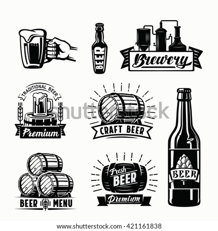 Set of vector beer badges on white background - stock vector