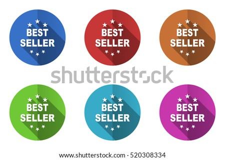 Set of vector best seller icons. Colorful round web buttons. Flat design pushbuttons.
