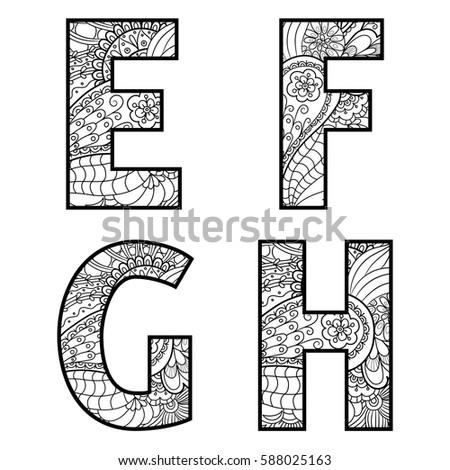 Set vector big letters pattern doodle stock vector hd royalty free set of vector big letters with pattern doodle letter e f g altavistaventures Gallery