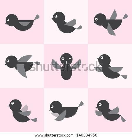 Set of vector bird icons - stock vector
