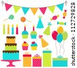 Set of vector birthday party elements - stock vector