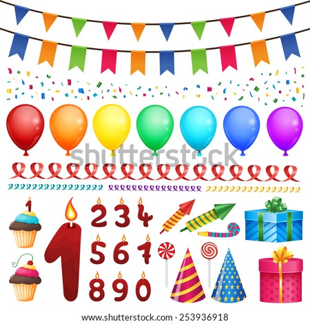 Set of vector birthday party elements. - stock vector