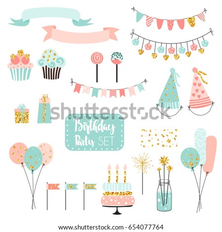 Set of vector birthday party elements. Colorful balloons, flags, confetti, cupcakes, gifts, garlands and ribbons.