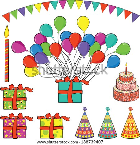 Set of vector birthday party elements (presents, balloons, candle, cake, hats, flags)