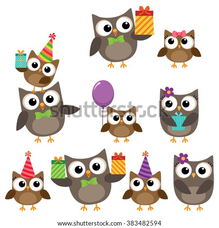 Set of vector birthday party elements with family of cute owls - stock vector