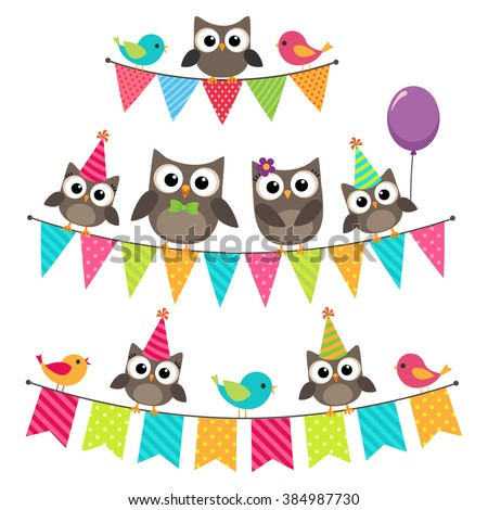 Set of vector birthday party elements with family of cute owls sitting on bunting - stock vector