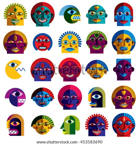 Set of vector bizarre creatures, modern art colorful drawings of imaginative beings. Fantastic odd characters can be used as user avatar icon or in graphic design. - stock vector