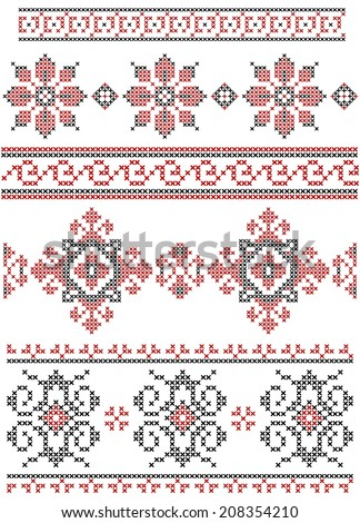 Set of vector black and red cross stitch ethnic borders. - stock vector