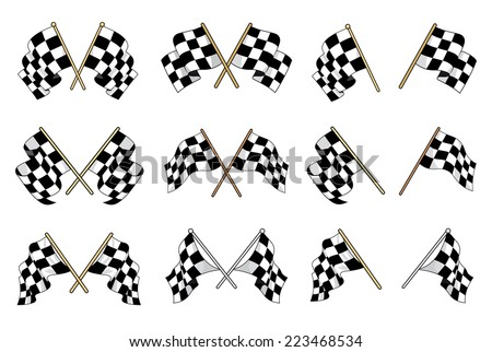 Set of vector black and white checkered flags used in motor sport with six different crossed designs and six single flags showing different waving motions of the textile - stock vector