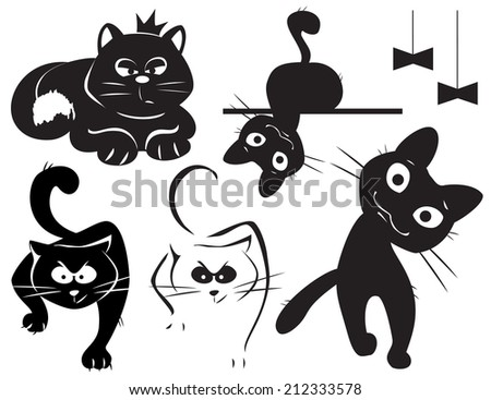 set of vector black cats
