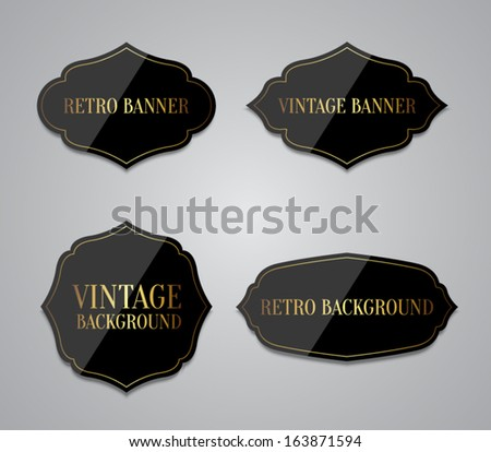 Set of vector black glossy labels with retro / vintage style design for websites or banners for business. Clean style - stock vector