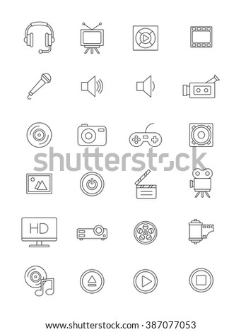 Set of 24 vector black multimedia icons
