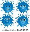 Set of vector blots characters with different faces. Part 3. Vector - stock vector