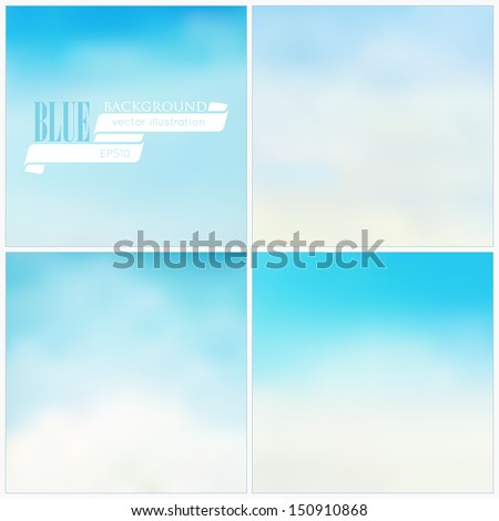 Set of vector blue backgrounds  - stock vector