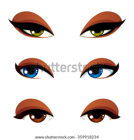 Set of vector blue, brown and green eyes. Female eyes expressing different emotions, face features of seducing women. - stock vector