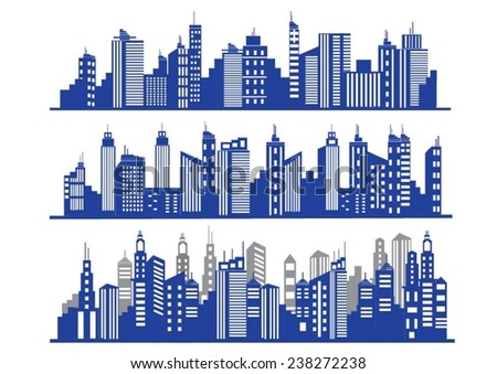 Set of vector blue cities silhouette