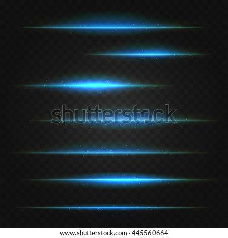 set of vector blue lens flares on transparent background - stock vector