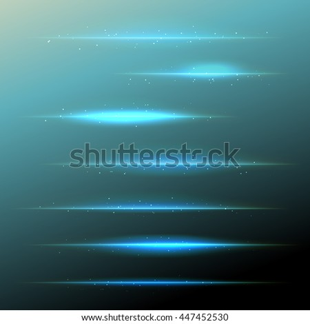 set of vector blue lens flares with sparkling particles. design elements - stock vector