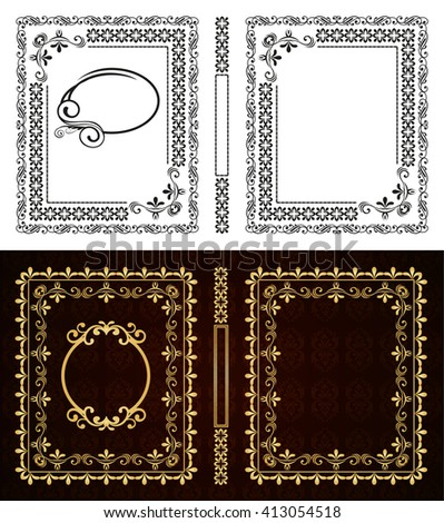 Set of vector book cover. Decorative vintage frame or border to be printed on the covers of books. Aspect ratio standard 1,65. Book format can be 75x90mm. Color can be changed in a few mouse clicks. - stock vector