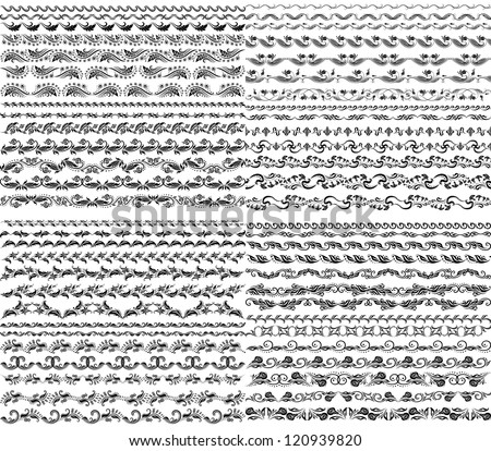 Set of vector borders,  decorative elements for design. Page decoration. - stock vector