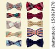 Set of vector bow-ties - stock vector