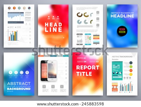 Set of Vector Brochure Flyer Design Layout Templates. Abstract Blurred Background. Wavy Forms for Flyer, Placard, Banner and Poster Design. - stock vector