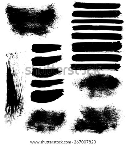 set of 18 vector brush strokes and stains  - stock vector