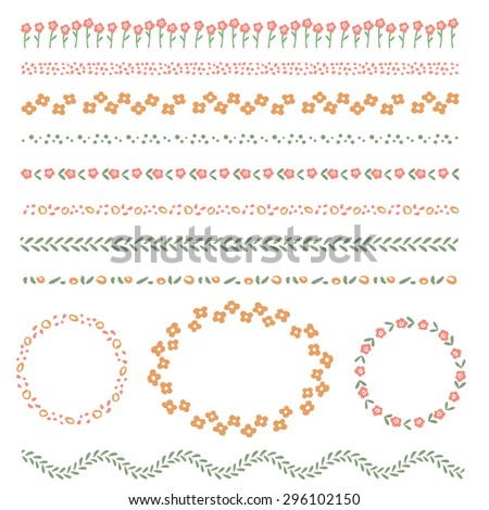 Set of vector brushes for dividers and frames - stock vector