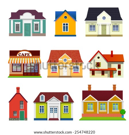 set of vector buildings - stock vector