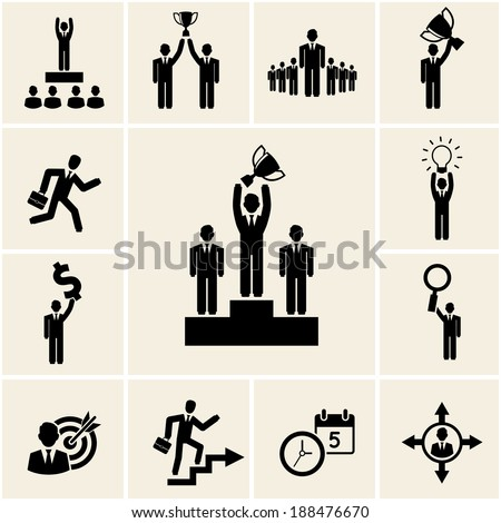 Set of vector business and career icons depicting achievement and rewards - stock vector