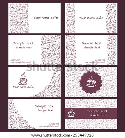 Set of vector business cards for coffee shops and cafes. - stock vector