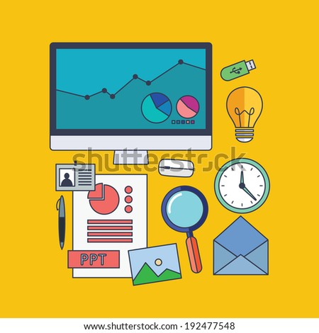 Set of vector business concept design flat line