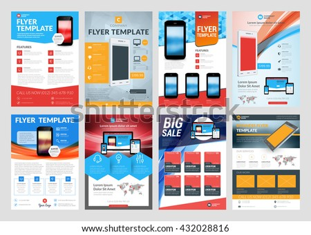 Set Vector Business Flyer Design Templates Stock Vector