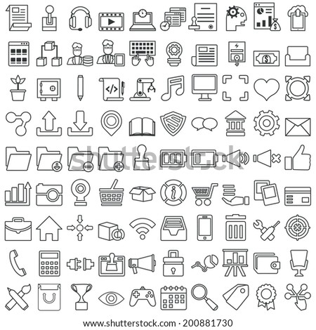 Set of vector business outline icons for design - vector icons - stock vector