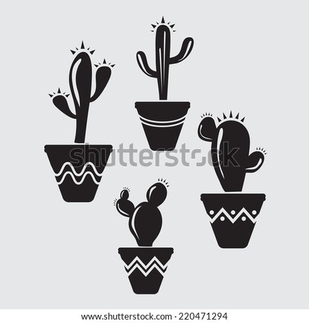Set of vector cactus icons on gray background - stock vector