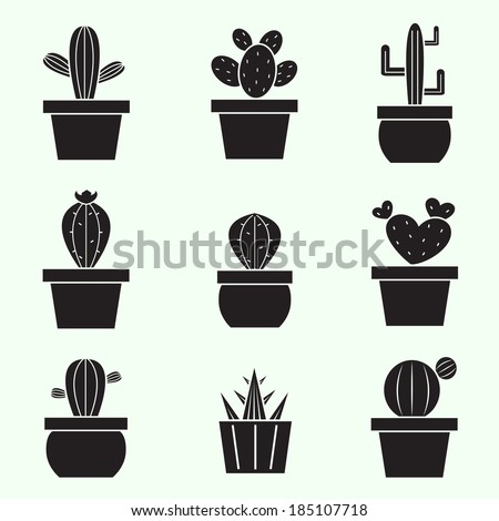 Set of vector cactus icons on white background - stock vector