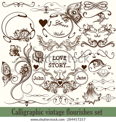 Set of vector calligraphic flourishes in vintage style engraved ornaments