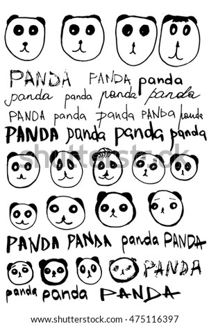 "Set of vector calligraphy lettering word ""panda"" and funny cartoon sketch illustration of panda face"