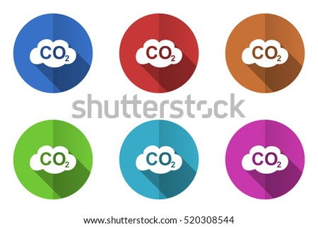 Set of vector carbon dioxide icons. Colorful round web buttons. Flat design pushbuttons.