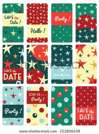 Set of vector card templates with star pattern background. - stock vector
